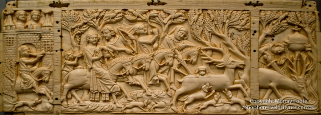 Panel from a casket with hunting scenes, Paris, c. 1350.
