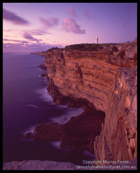 "Macquarie and Cliffs at Dawn 5.20am 7 November 1987 Arca Swiss Monorail 5x4"" 90mm Linhof Schneider Angulon f11 1 minute, Fujichrome 100"