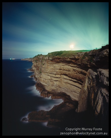 "Macquarie and Cliffs during night 6 November 1987 Arca Swiss Monorail 5x4"" 90mm Linhof Schneider Angulon f6.8 20 minutes, Fujichrome 50"