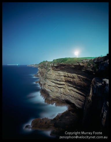 "Macquarie and Cliffs during night 6 November 1987 Arca Swiss Monorail 5x4"" 90mm Linhof Schneider Angulon f6.8 40 minutes, Fujichrome 50"