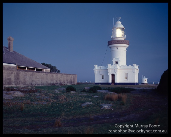 "Pt Perpendicular lighthouse 11 July 1987 Arca Swiss Monorail 5x4"" 90mm Linhof Schneider Angulon f11 1 minute, Fujichrome 50"