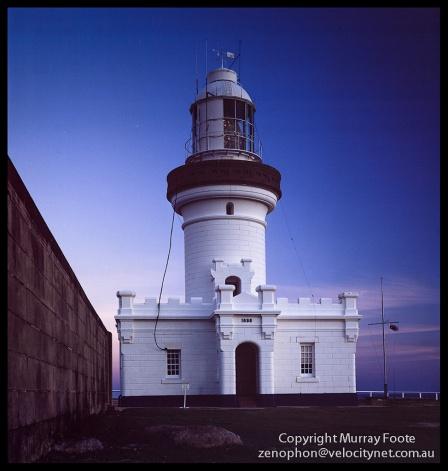 "Pt Perpendicular lighthouse 11 July 1987 Arca Swiss Monorail 5x4"" 90mm Linhof Schneider Angulon f6.8  + Polariser, 1 minute, Fujichrome 50"