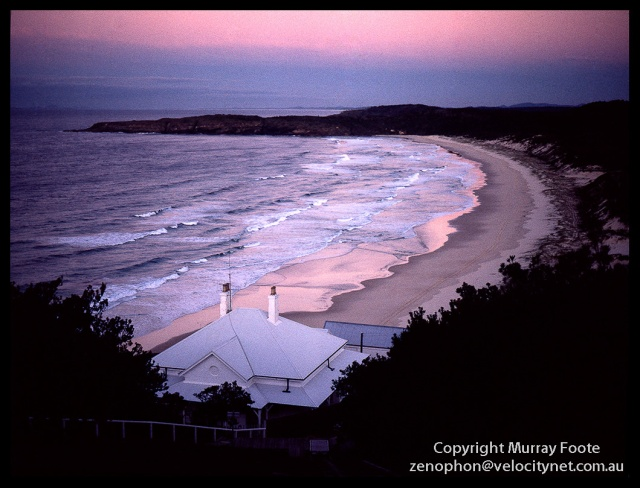 Head keeper's cotttage and beach at sunsetMamiya 645