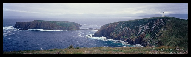 "Cape Bruny lighthouse 1:00pm 3 April 1987 Nagaoka Field Camera 5x4"" 65mm Schneider super Angulon f16 1/4 second + polariser,  Fujichrome 50."