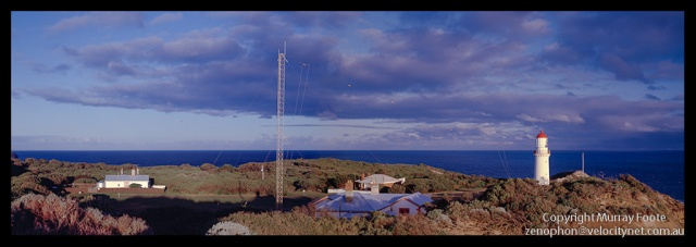 "Cape Schanck panorama Nagaoka 5x4"" field camera with 6x9 roll film back 21 April 1987 150mm Linhof Technika Symmar f22 1/15 second Fujichrome 50"