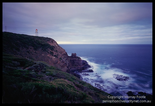 "Cape Schanck Seascape in early morning 7:00am  21 April 1987 Arca-Swiss 5x4"" monorail camera 65mm Schneider Super Angulon,  f32 2 1/2 minutes + polariser Fujichrome 50"