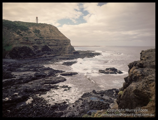 "Cape Schanck Seascape in early morning 9:30am  21 April 1987 Arca-Swiss 5x4"" monorail camera 90mm Linhof Angulon f8 5 or 10 seconds + polariser Fujichrome 50"