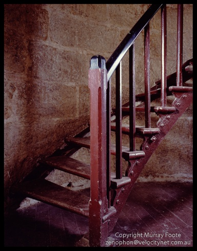 "Cape Wickham lighthouse stairs 9:00am 30th July 1987 Arca-Swiss monorail 5x4"" f11/16 1 minute 90mm Linhof Schneider Angulon Fujichrome 50"