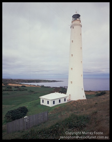 "Cape Wickham lighthouse 8:00am 30th July 1987 Nagaoka Field Camera 5x4"" f16 2 1/2 seconds + polariser 90mm Linhof Schneider Angulon Fujichrome 50"