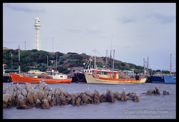 "Currie Harbour.  1:30pm 30 July 1987 Arca-Swiss monorail 5x4""  90mm Linhof Schneider Angulon f32 1 second+ polariser Fujichrome 50"