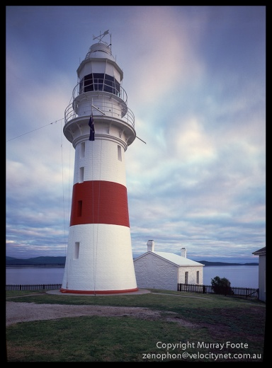 "Low Head Lighthouse 4:50pm 24 July 1987 Arca Swiss Monorail 5x4"" 90mm Linhof Schneider Angulon f32 12 seconds, Fujichrome 50"