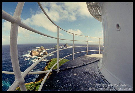 Maatsuyker lighthouse - view from rail 3:00pm 22 April 1987 Nikon FE 16mm Nikkor fisheye lens Fujichrome 50