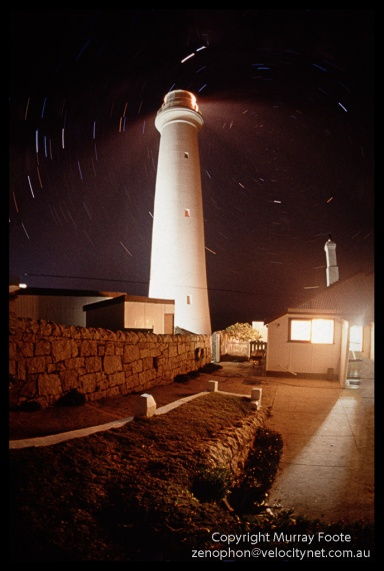 Point Hicks lighthouse, cottage and star trails 9:00pm 25 April 1987 Nikon FE 16mm fisheye f3.5 25 minutes