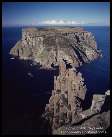 "Tasman Island from Cape Pillar.   10:00pm 28th July 1987,  Nagaoka Field Camera 5x4"",  f11 1/25 second + polariser,  90mm Linhof Schneider Angulon,  Fujichrome 50."