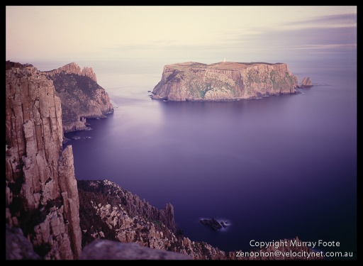 "Tasman Island after sunset.   5:40pm 27th July 1987,  Nagaoka Field Camera 5x4"",  f6.8 25 minutes,  90mm Linhof Schneider Angulon,  Fujichrome 50."