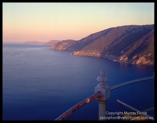 "Wilsons Prom view from top rail of lighthouse after dawn Nagaoka Field Camera 5x4"",  150mm Linhof Schneider Technika Symmar,  f45 2 1/2 seconds + polariser,  Fujichrome 50."