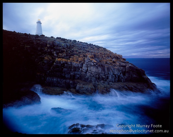 "Cape Willoughby lighthouse.  7:20am 16th May 1987.   Nagaoka 5x4"" field camera f22 15 or 28 seconds + polariser,  65mm Schneider Super Angulon, Fujichrome 50."