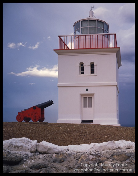 "Cape Borda Lighthouse and Cannon 7:15am 4 May 1987 Arca Swiss Monorail 5x4"" 150mm Linhof Schneider Technika Symmar  f16 2 seconds, Fujichrome 50"