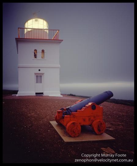 "Cape Borda Lighthouse and Cannon c. 6pm 4 May 1987 Nagaoka 5x4"" field camera f8 3 minutes,  65mm Schneider Super Angulon, Fujichrome 50."