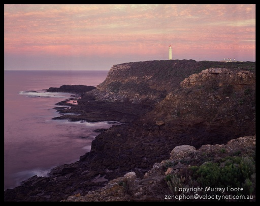 "Cape Nelson at Dawn 7:20am  3 May 1987 Arca-Swiss 5x4"" monorail camera 90mm Linhof Angulon f16 12 seconds + polariser Fujichrome 50"