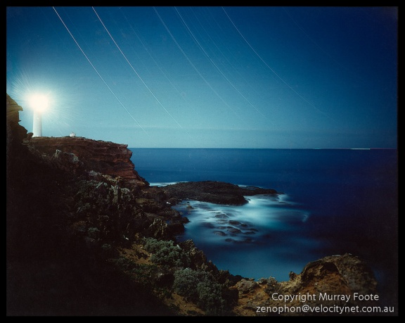 "Cape Nelson by night 6:30 to 10:30pm  2 May 1987 Arca-Swiss 5x4"" monorail camera 90mm Linhof Angulon f6.8 4 hours Fujichrome 50"