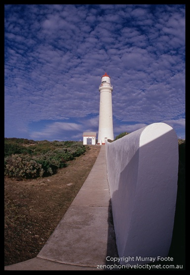 Cape Nelson lighthouse and wall Nikon FE 16mm fisheye Nikkor Fujichrome 50