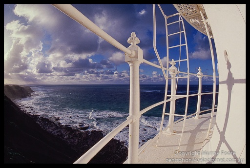 Cape Otway Lighthouse railings and view 9:30am 20 April 1987 Nikon FE 16mm fisheye Nikkor Fujichrome 50