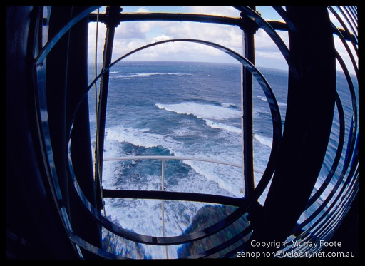 Cape Otway Lighthouse view through lens 9:30am 20 April 1987 Nikon FE 16mm fisheye Nikkor Fujichrome 50