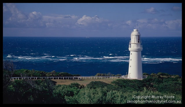 "Cape Otway Lighthouse and reef 9:30am 20 April 1987 Arca-Swiss 5x4"" monorail camera 240mm Schneider Xenar f11 1/30 second + polariser Fujichrome 50"