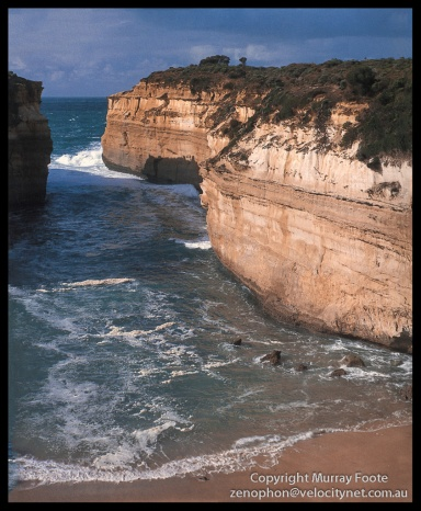 "Loch Ard Gorge 3:40pm 20 April 1987 Arca Swiss Monorail 5x4"" 90mm Linhof Schneider Angulon f11 1/25 second (+ polariser?),  Fujichrome 50 (Low res scan from book)"