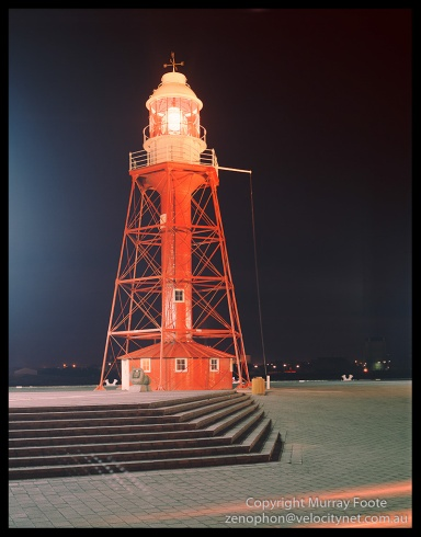 "South Neptune Lighthouse (old) at Port Adelaide, 8:10pm 18 May 1987 Arca Swiss Monorail 5x4"" 150mm Linhof Schneider Technika Symmar  f11 1 minute 40 seconds,  Fujichrome 50"