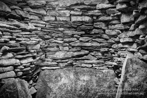Inside round cairn