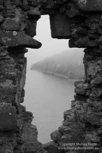 Black and White, Castles, History, Landscape, Monochrome, Photography, Scotland, seascape, Travel