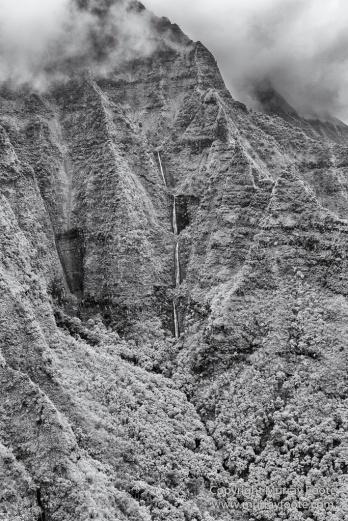 Black and White, Hanalei Bay, Hawaii, Helicopter, Kauai, Landscape, Monochrome, Mount Wai'ale'ale, Na Pali Coast, Photography, Travel, Wailua Falls