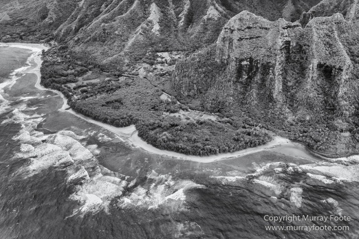 Black and White, Hanalei Bay, Hawaii, Helicopter, Kauai, Landscape, Monochrome, Mount Wai'ale'ale, Na Pali Coast, Photography, Travel, Wailua Falls