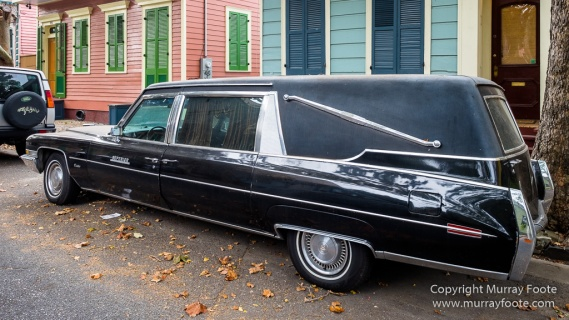 Architecture, Cadillac Hearse, Drain covers, Faubourg Marigny, Marigny, New Orleans, Photography, Street photography, Travel, USA
