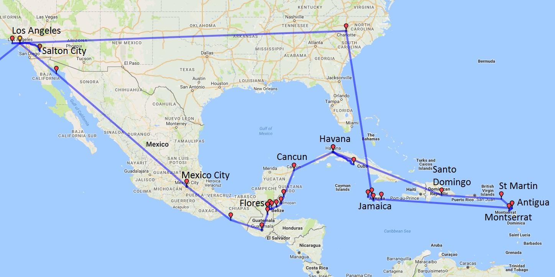 Antigua, Cuba, Dominican Republic, Flinders Ranges, Flores, Guatemala, Havana, Jamaica, Los Angeles, Mexico, Montserrat, Salton City, Santo Domingo, St Martin, USA